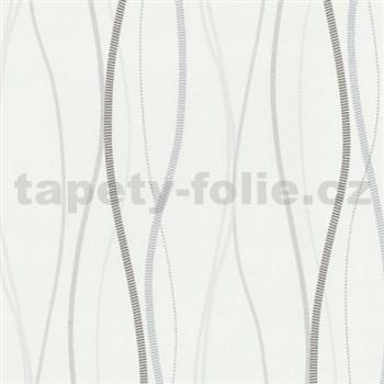 Vliesové tapety na zeď Patchwork - vlnovky hnědo-šedé - SLEVA