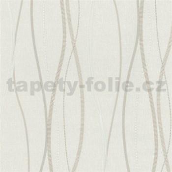 Vliesové tapety na zeď Patchwork - vlnovky bílo-hnědé - SLEVA