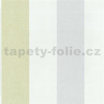 Vliesové tapety na zeď Patchwork - pruhy modro-zelené - SLEVA