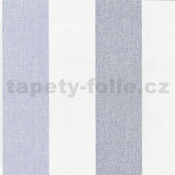 Vliesové tapety na zeď Patchwork - pruhy modro-bílé - SLEVA