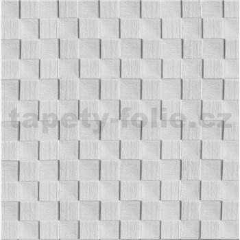 Samolepící pěnové 3D panely rozměr 69 x 69,5 cm, 3D dřevěná šachovnice bílá - AKCE