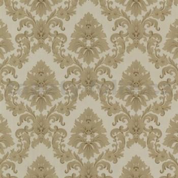 Vinylové tapety barokní vzor zlatý na světle hnědém podkladu