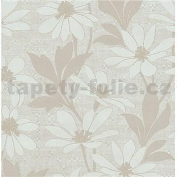 Vliesové tapety na zeď Polar květy s listy hnědé
