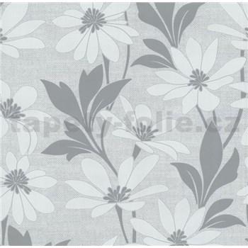 Vliesové tapety na zeď Polar květy s listy šedé - POSLEDNÍ KUSY
