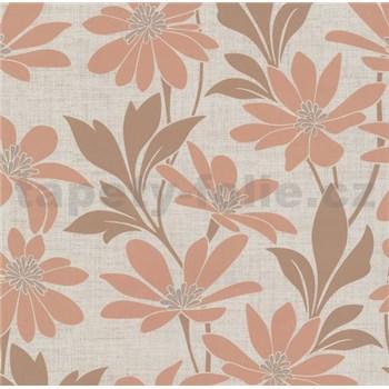 Vliesové tapety na zeď Polar květy s listy hnědo-béžové