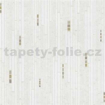Vliesové tapety na zeď Pure and Easy geometrické čtverce béžové na bílém podkladu