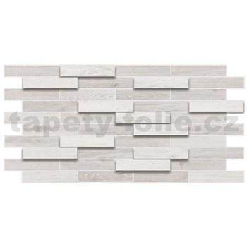 Obkladové 3D PVC panely rozměr 980 x 480 mm dřevěný obklad dub bělený