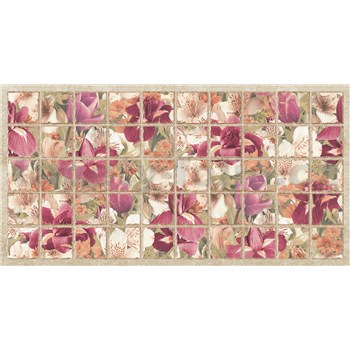 Obkladové 3D PVC panely rozměr 964 x 484 mm květy kosatce bordové