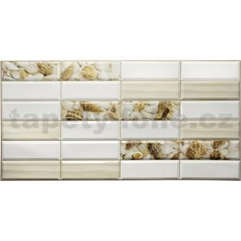 Obkladové 3D PVC panely rozměr 955 x 480 mm obklad bílý s mušlemi