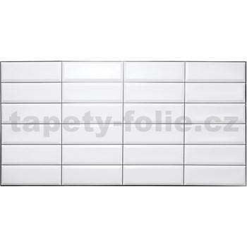 Obkladové 3D PVC panely rozměr 955 x 480 mm obklad bílý, černá spára
