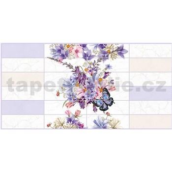 Obkladové 3D PVC panely rozměr 955 x 480 mm květy s motýly