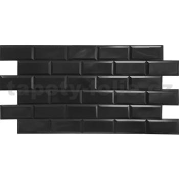 Obkladové 3D PVC panely rozměr 966 x 484 mm obklad černý lesklý