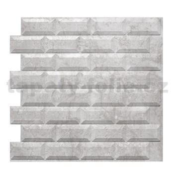 Obkladové 3D PVC panely rozměr 595 x 560 mm, tloušťka 0,6mm, METRO 3D SILVER