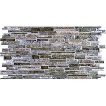 Obkladové 3D PVC panely rozměr 980 x 489 mm, tloušťka 0,4mm, ukládaný kámen šedo-hnědý