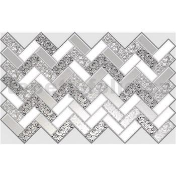 Obkladové 3D PVC panely rozměr 992 x 629 mm, tloušťka 0,6mm, obklad bílo-stříbrný s růžemi