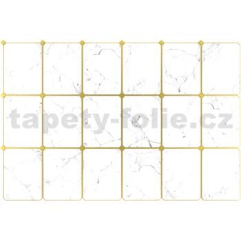 Obkladové 3D PVC panely rozměr 947 x 635 mm, tloušťka 0,6mm, mramor bílý se zlatou spárou