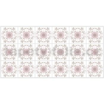 Obkladové 3D PVC panely rozměr 960 x 480 mm mozaika s růžovými ornamenty