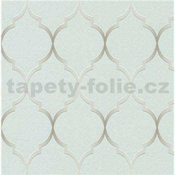 Vliesové tapety na zeď Collection 2 zámecký vzor stříbrný na zeleném podkladu