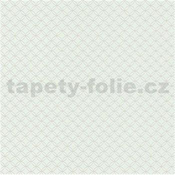 Vliesové tapety na zeď Collection 2 kružnice stříbrné na zeleném podkladu