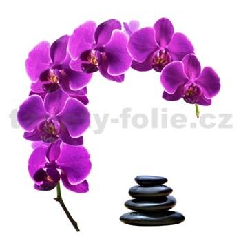 Samolepky na zeď orchidej s kameny 85 cm x 88 cm