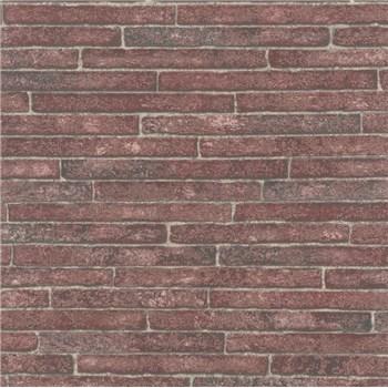 Vliesové tapety na zeď Sand and Stones cihla klinker bordová s výraznou strukturou
