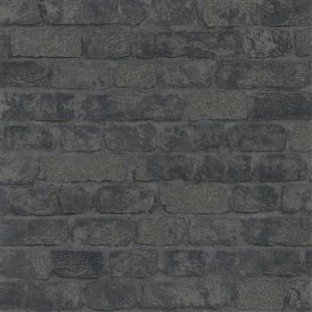 Vliesové tapety na zeď Brique 3D cihly černé s výraznou plastickou strukturou