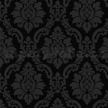 Vinylové tapety na zeď barokní vzor šedý na černém podkladu