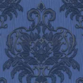 Vliesové tapety na zeď Spotlight - zámecký vzor modrý-stříbrný