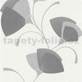 Vliesové tapety na zeď Spotlight - listy šedé - POSLEDNÍ KUSY