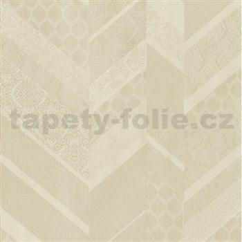 Vliesové tapety na zeď Spotlight II drobné kašmírové vzory tvořené do pruhů béžovo-krémové