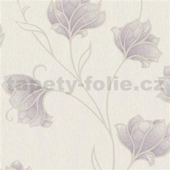 Luxusní vliesové tapety na zeď Spotlight 2 květy fialové s béžovými konturami na krémovém podkladu