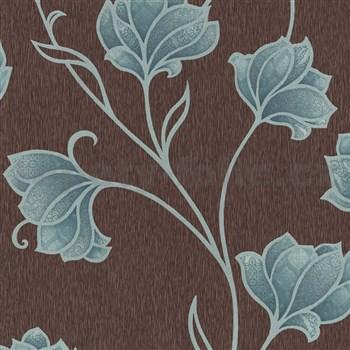 Luxusní vliesové tapety na zeď Spotlight 2 květy tyrkysové s šedými konturami na hnědém podkladu