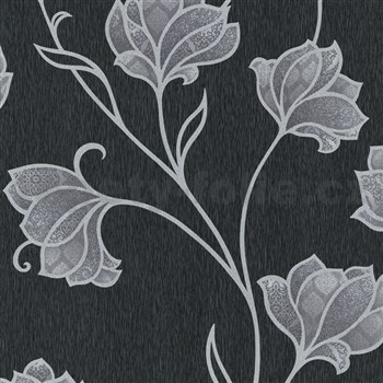 Luxusní vliesové tapety na zeď Spotlight 2 květy stříbrné s šedými konturami na černém podkladu
