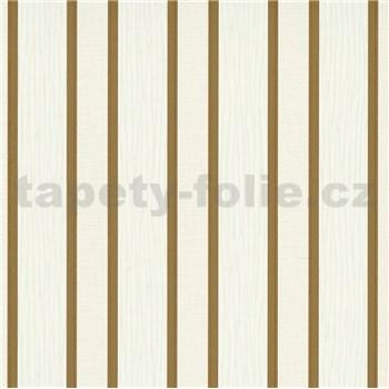 Vliesové tapety na zeď IMPOL Spotlight 3 pruhy hnědo-zlaté