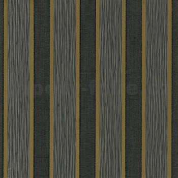 Vliesové tapety na zeď IMPOL Spotlight 3 pruhy zlato-černé
