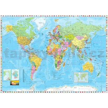 Vliesové fototapety mapa světa rozměr 254 cm x 184 cm