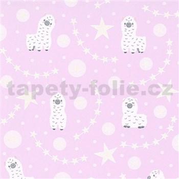 Vliesové tapety na zeď IMPOL Sweet and Cool lamy alpaka na růžovém podkladu