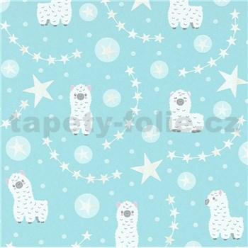 Vliesové tapety na zeď IMPOL Sweet and Cool lamy alpaka na mintovém podkladu