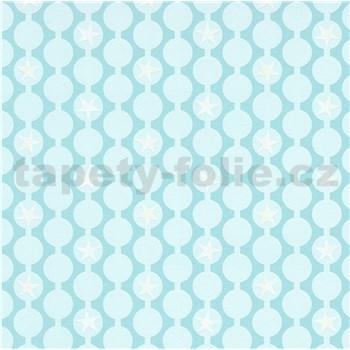 Vliesové tapety na zeď IMPOL Sweet and Cool řetízkovitý vzor s hvězdami mintový