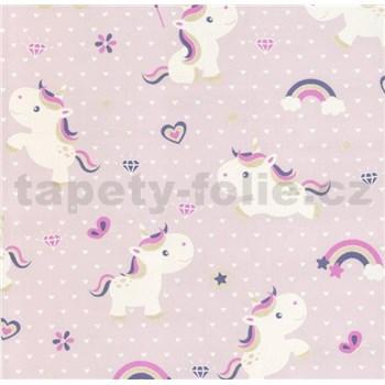 Vliesové tapety na zeď Sweet & Cool Unicorn-jednorožec na růžovém podkladu
