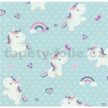 Vliesové tapety na zeď Sweet & Cool Unicorn-jednorožec na modrém podkladu