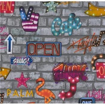 Papírové tapety na zeď Sweet & Cool cihlová stěna šedá s nápisy