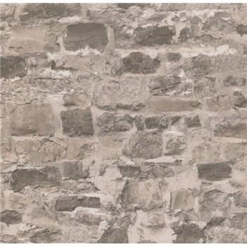 Papírové tapety na zeď Sweet & Cool kamenná stěna hnědá