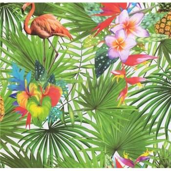 Papírové tapety na zeď Sweet & Cool palmy s plameňáky a květy