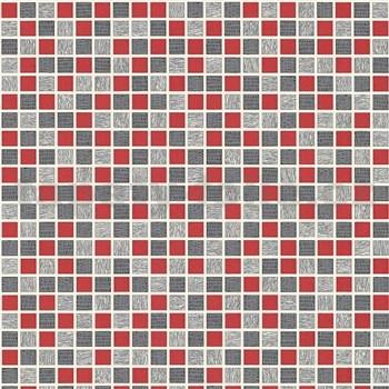 Vinylové tapety na zeď kachličky mozaika šedo-červená