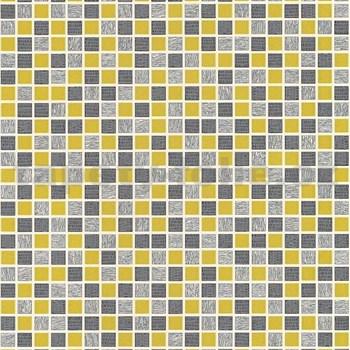 Vinylové tapety na zeď kachličky mozaika šedo-žlutá