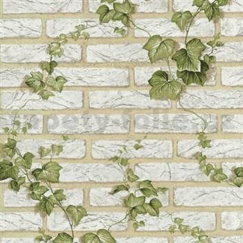 Papírové tapety na zeď - bílá cihla s popínavým břečťanem