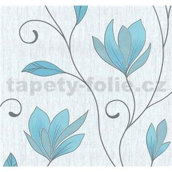 Vliesové tapety na zeď Collection květy modré s třpytkami