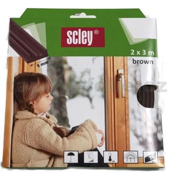 Samolepící těsnění do dveří a oken 6m profil E, těsnění 2-3,5mm, hnědé