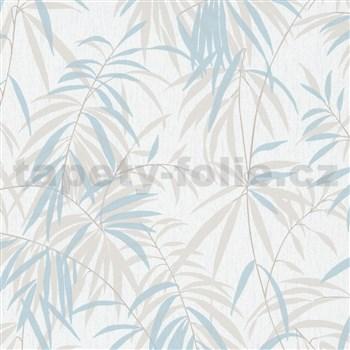 Vliesové tapety na zeď IMPOL Timeless listy béžovo-modré na bílém podkladu